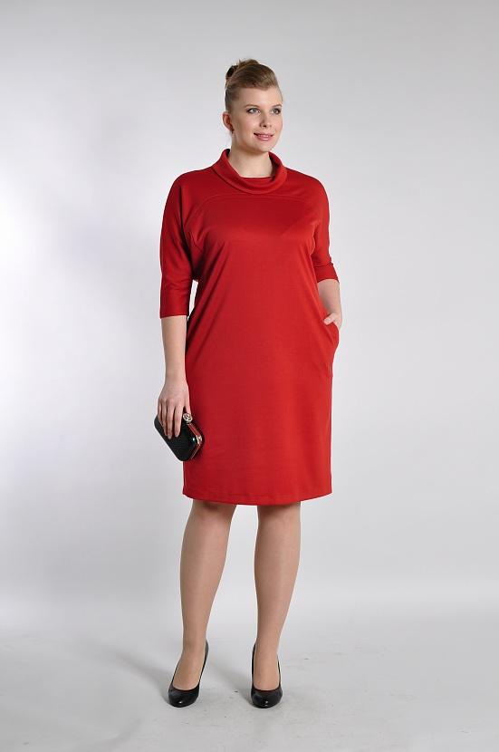 1d3e4ff7fe0 Красное прямое платье 3301-37 с воротником хомут и рукавами три четверти